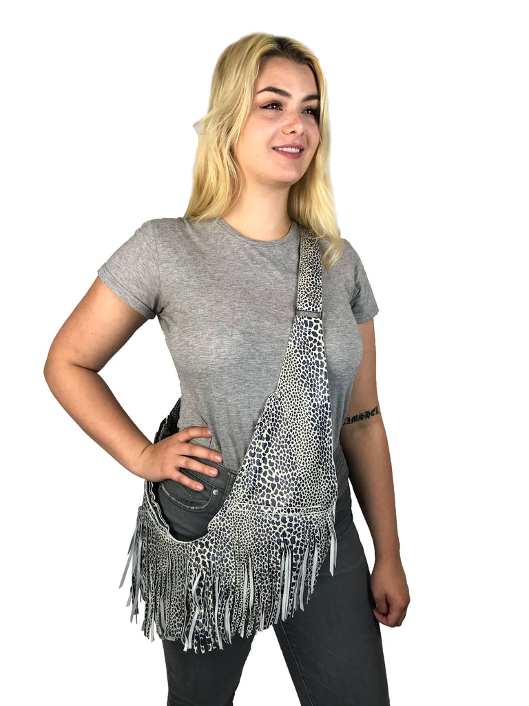 Indigo Cheetah Leather Extra Full Fringe Sash Bag