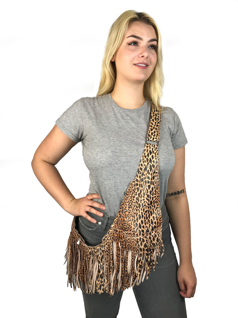 Leopard Leather Extra Full Fringe Sash Bag