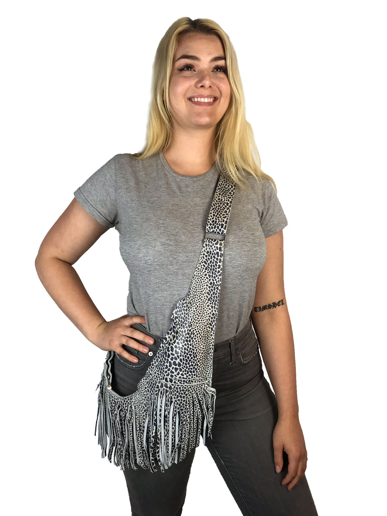 Indigo Cheetah Leather Full Fringe Sash Bag