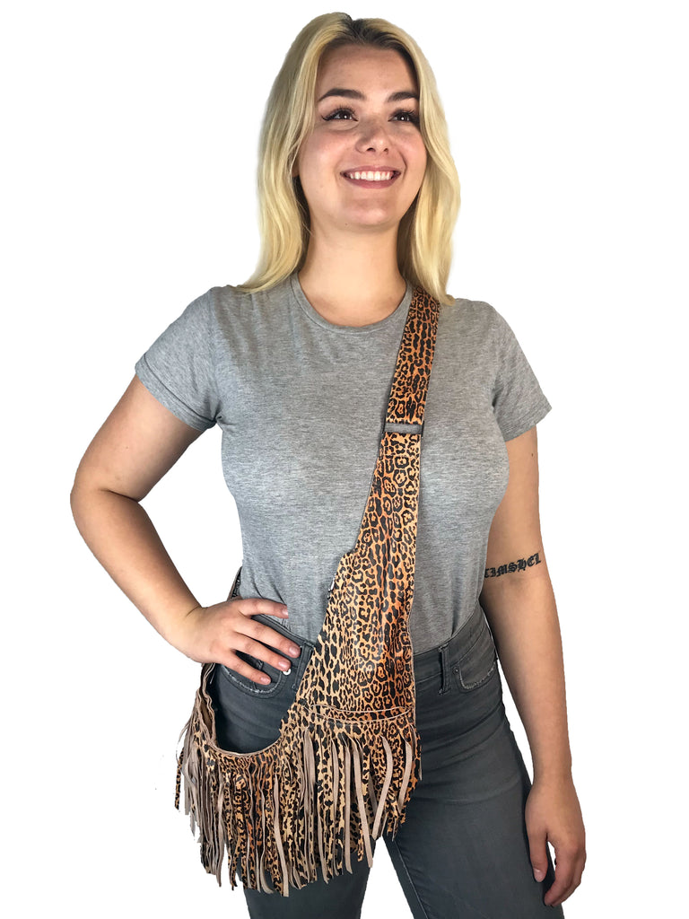 Leopard Leather Full Fringe Sash Bag