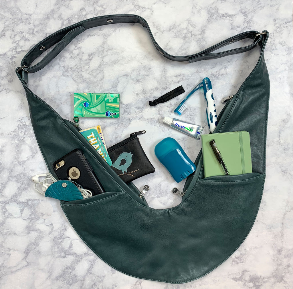 Blue-Green Classic Leather Sash Bag