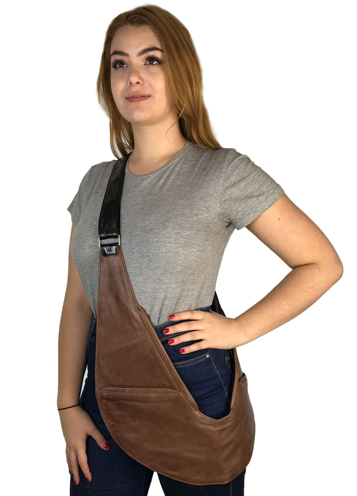 Black/Brown Reversible Genuine Leather Extra Sash Bag (Pre-Order)