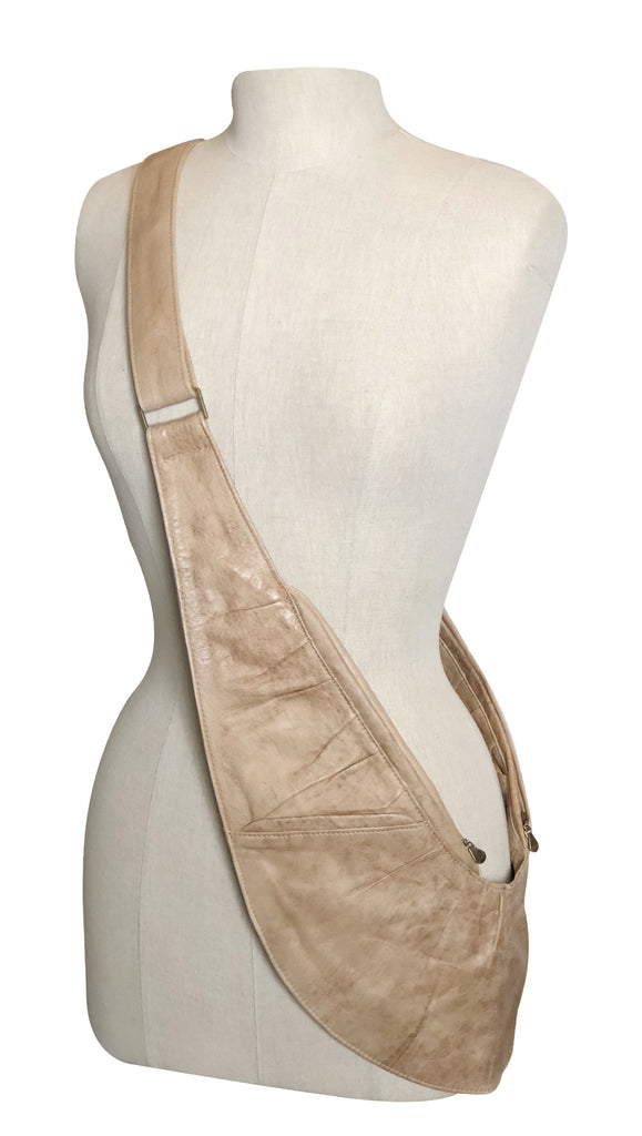 Tan Ruche Leather Sash Bag