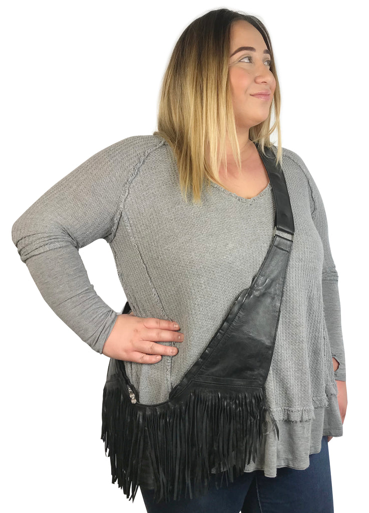Black Leather Full Fringe Sash Bag