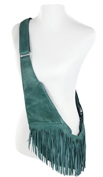 Turquoise Leather Full Fringe Sash Bag