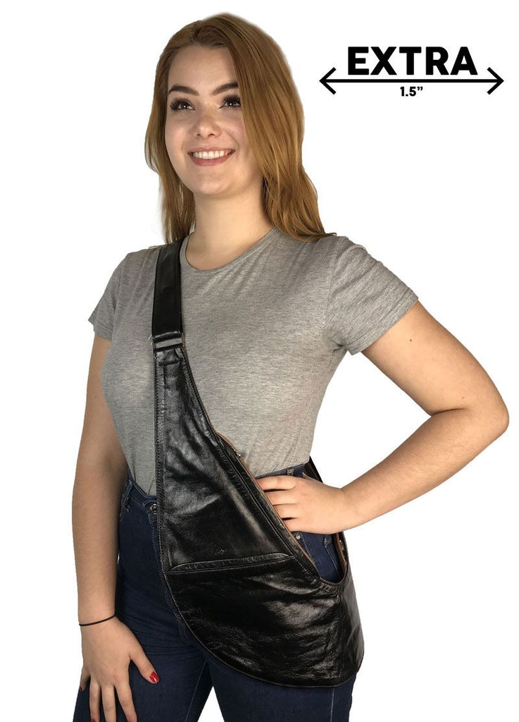 Black/Brown Reversible Genuine Leather Extra Sash Bag