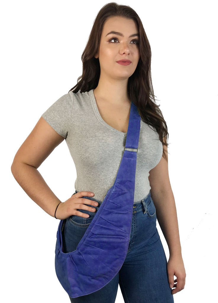 Ultra Violet Genuine Leather Ruche Sash Bag