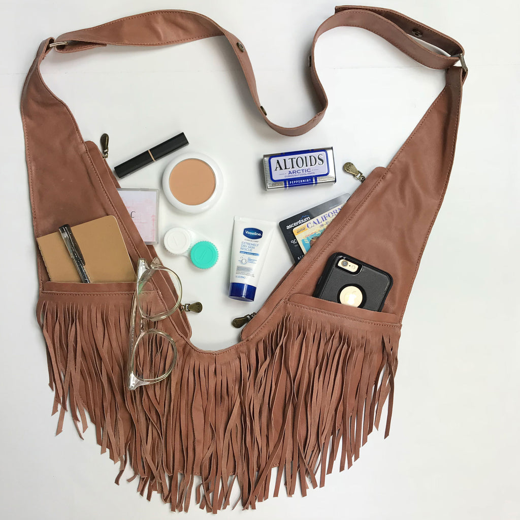 Caramel Full Fringe Leather Sash Bag