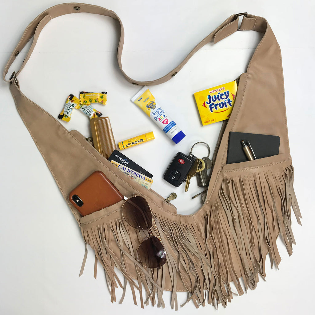Tan Full Fringe Leather Sash Bag