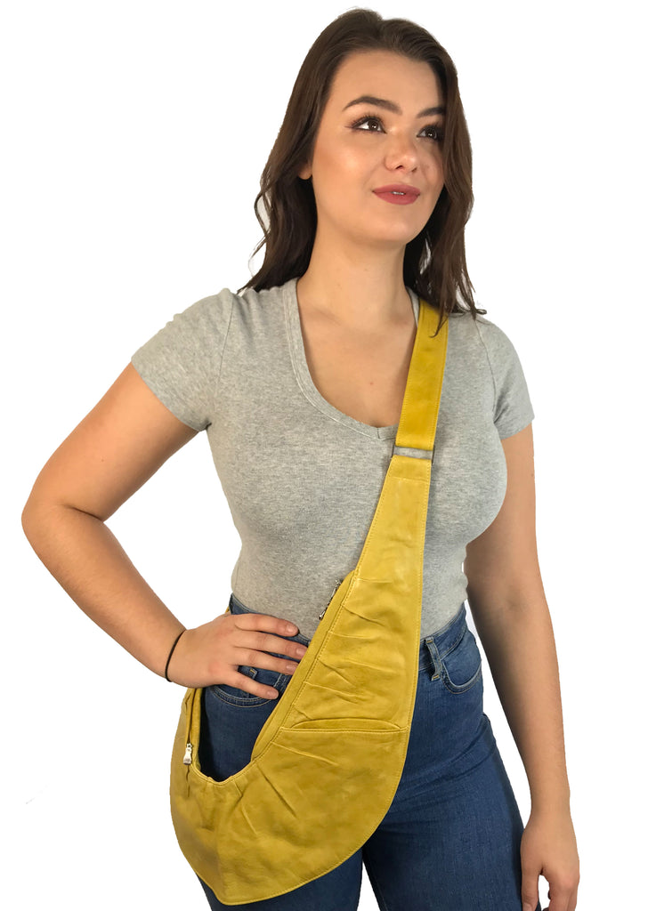 Yellow Ruche Leather Sash