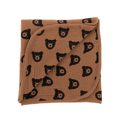 Brown Bear Muslin Swaddle