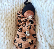 Load image into Gallery viewer, Brown Bear Muslin Swaddle