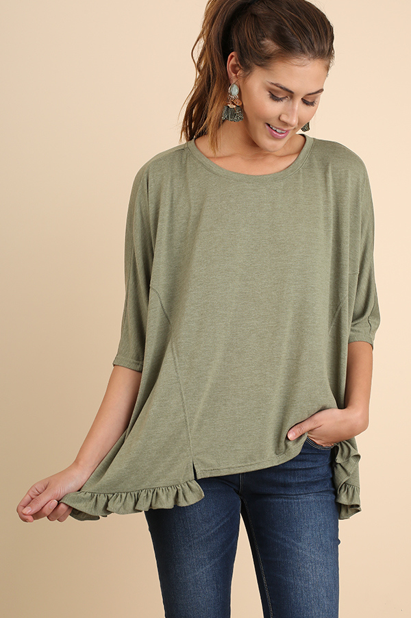 Sage Green Hi-Lo Top with Ruffled Hemline