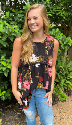 Black & Red Floral Sleeveless Top