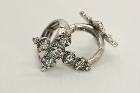Silver Cross Rhinestone Ring