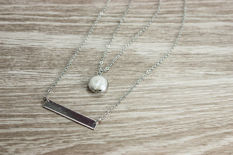 Silver Bar & Pearl Necklace