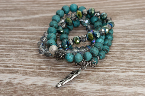 Turquoise Stackable Bracelets with Feather Detail