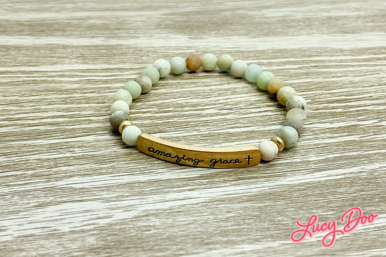 Mint & Tan Beaded Amazing Grace Bracelet