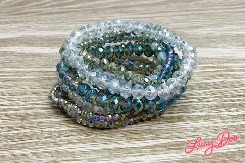Aqua & Grey Stackable Bracelets