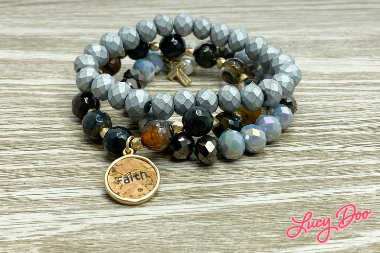 Black & Grey FAITH Beaded Bracelets