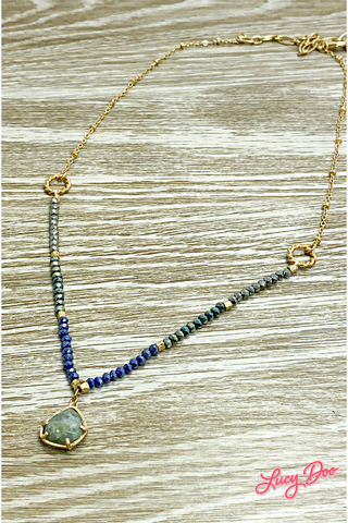 Gold & Blue Beaded Necklace