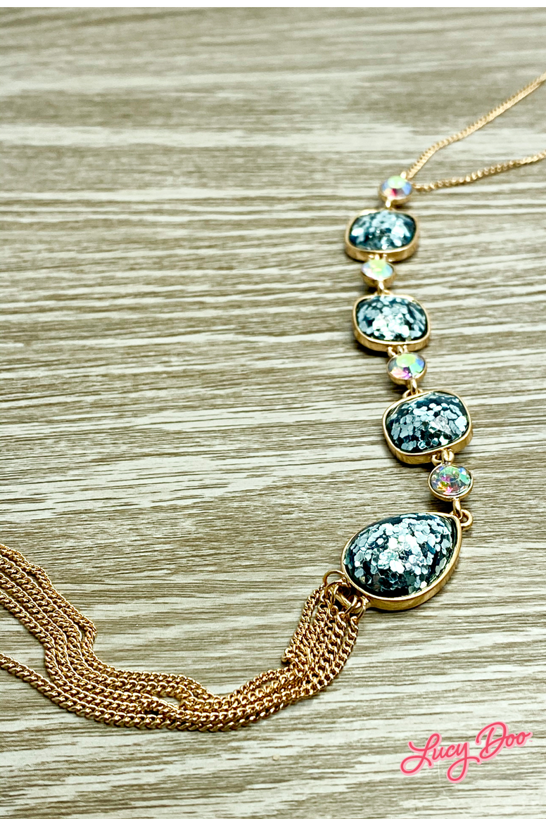 Blue Sparkle Long Necklace