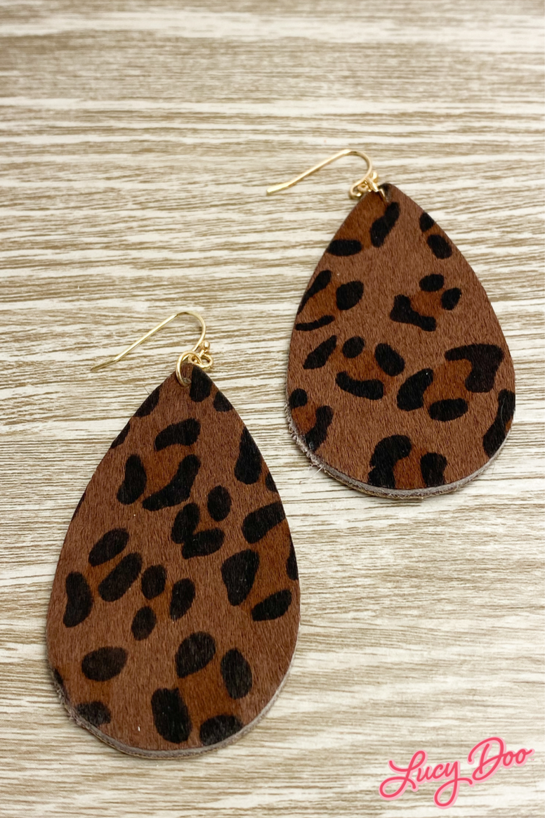 Chocolate Leopard Leather Earrings