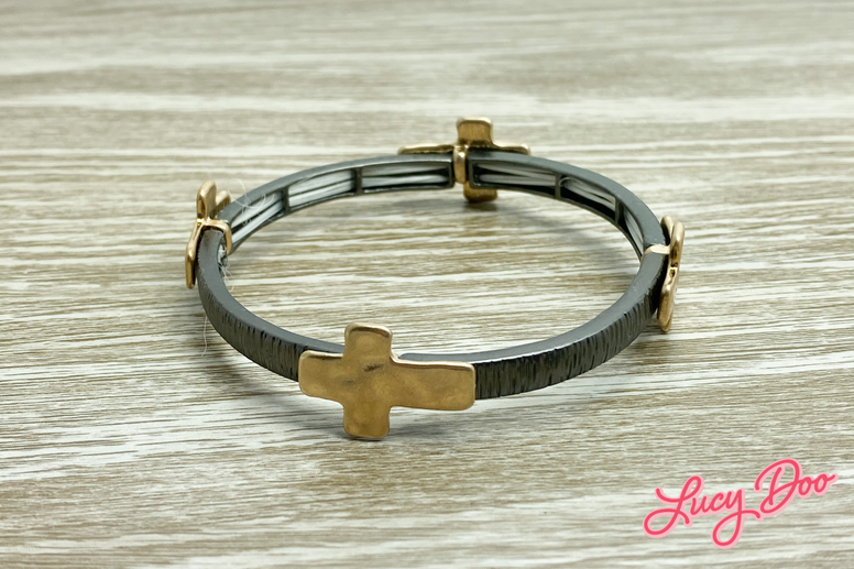 Matte Gold Cross Bangle Bracelet