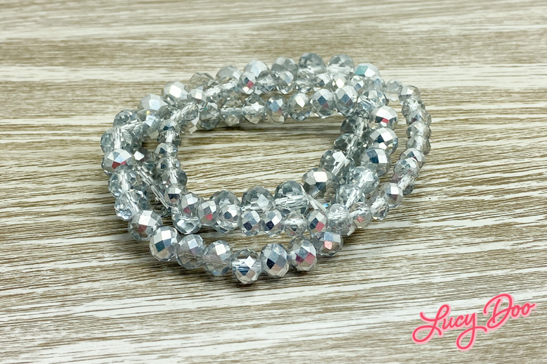 Silver Chrome Stackable Beaded Bracelets
