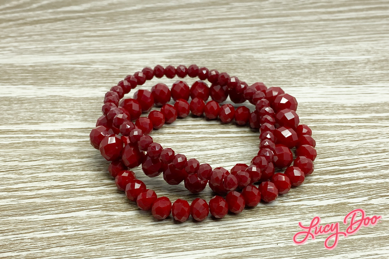 Red Stackable Beaded Bracelets