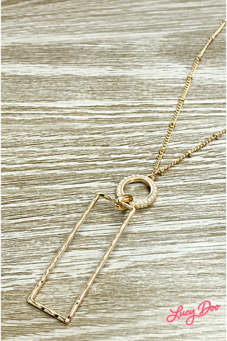 Gold & Pearl Rectangle Necklace