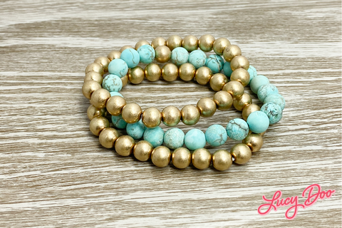 Gold & Turquoise Stack Bracelets