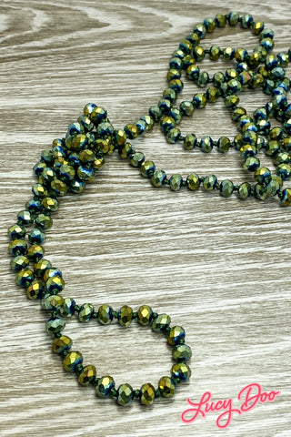 Green Irridescent Long Beaded Necklace