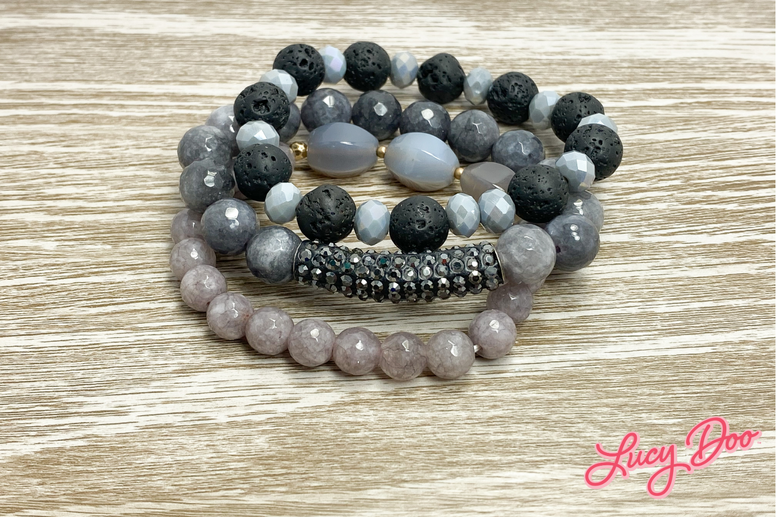 Grey & Black Stack Bracelets