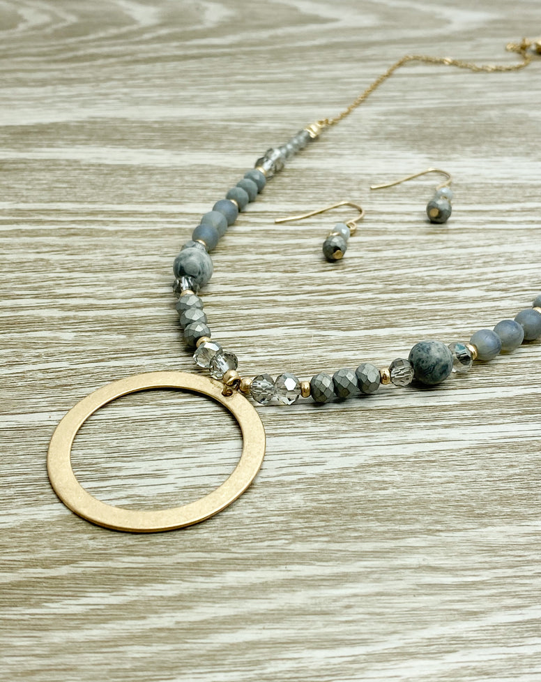 Grey Beaded Necklace Set
