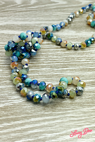 Blue & Cream Long Beaded Necklace