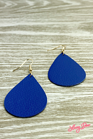 Royal Blue Leather Earrings