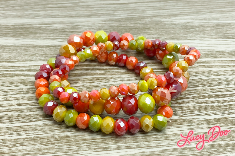 Orange Yellow Red Stackable Beaded Bracelets