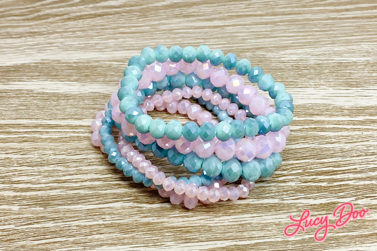 Pink & Blue Beaded Stack Bracelets