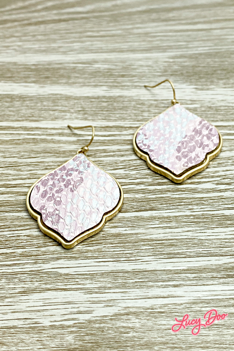 Dusty Pink & Gold Snakeskin Drop Earrings