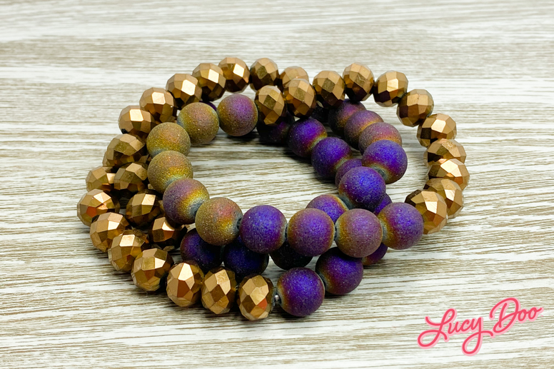 Purple & Copper Stackable Bracelets