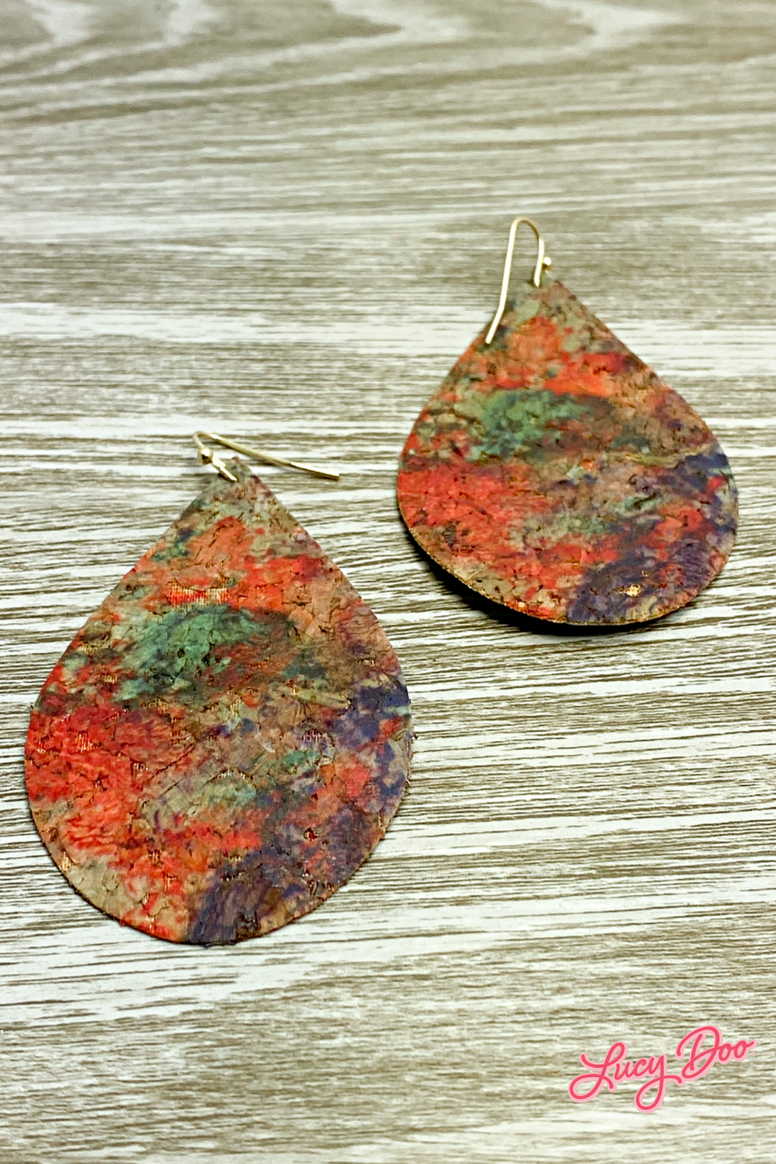 Red Marbled Leather Earrings