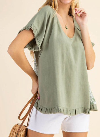 All In A Day Top- Olive