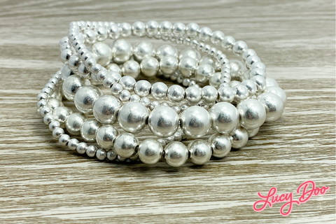 Silver Stackable Beaded Bracelets