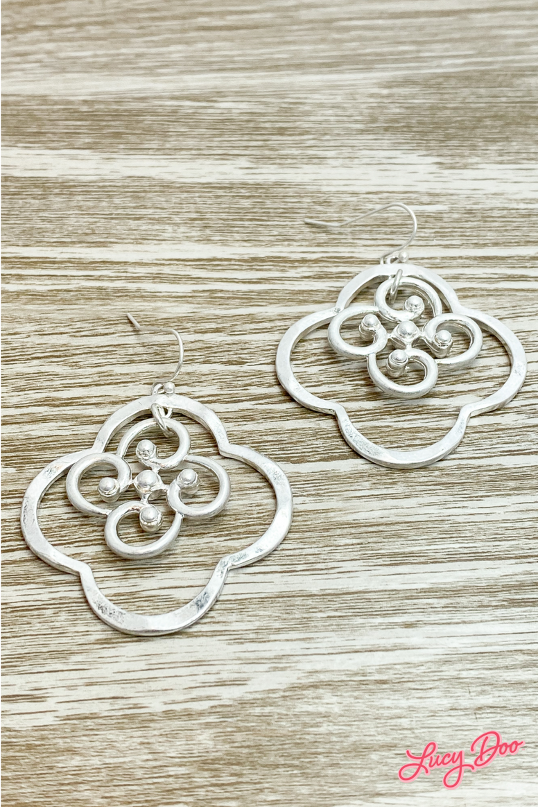 Silver Cloverleaf & Flower Drop Earrings