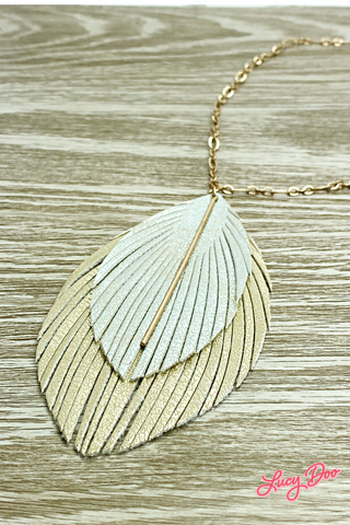 Long Gold & Silver Leather Necklace
