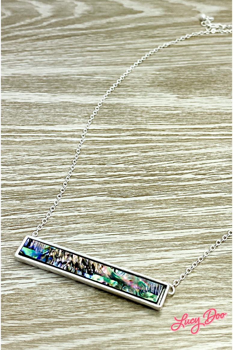 Silver Blue & Purple Swirl Bar Necklace