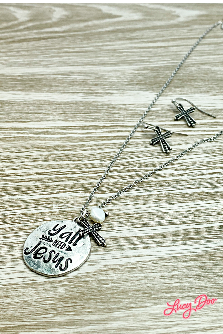 Y'all Need Jesus Charm Necklace Set