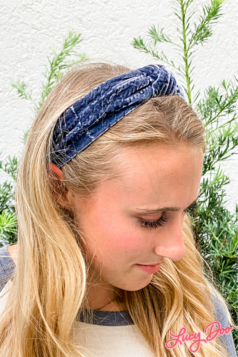 Smokey Blue Crushed Velvet Headband