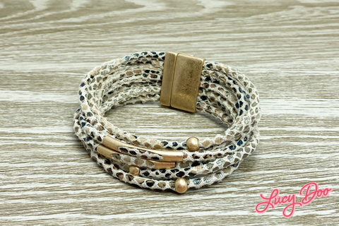 Tan Snakeskin Leather Magnetic Bracelet